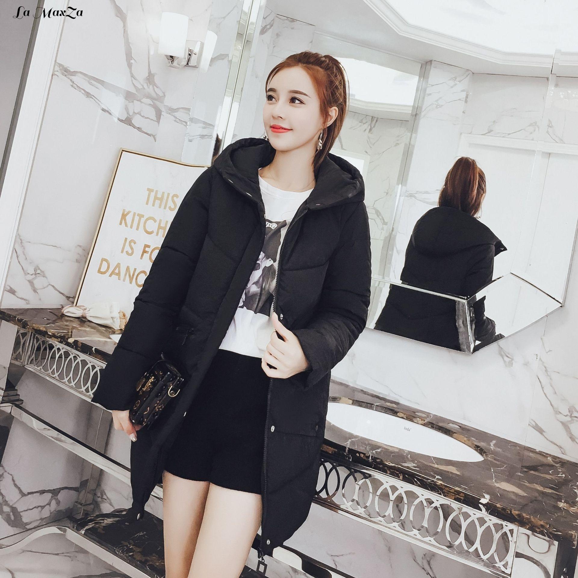 Cintura Sólido Chaqueta Invierno Y Bolsillos Larga Acolchada De Moda  Caliente algodón Mujer rojo Negro blanco ... e842baf0a32e