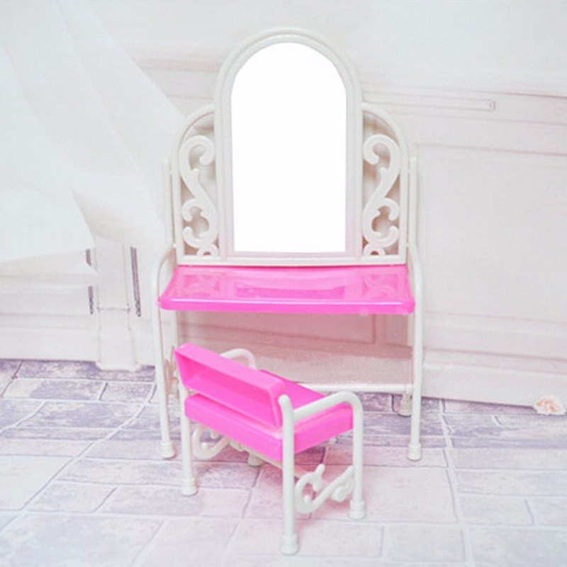 Lovely Set Dressing Table Chair for Barbies Dolls Dollhouse Bedroom Furniture Toys Set Girl Kids Play House