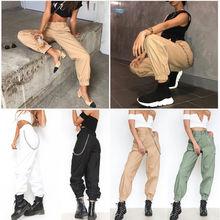Hirigin Harajuku Khaki Pencil Pants 2018 Newest Women Cargo Trousers Casual Hip Hop Dance Combat Camo Hiking Streetwear