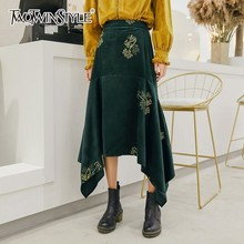 TWOTWINSTYLE 2019 Spring Velour Skirts Female High Waist Patchwork Heavy Embroidery Asymmetrical Skirt For Women Vintage Fashion