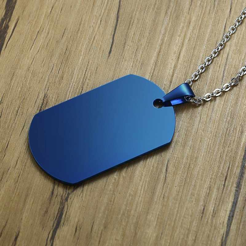 My Son Love Dad Dog Tag Blue Stainless Steel Dog Tag Pendant Necklace Personalised Engravable Gift to Kid Family