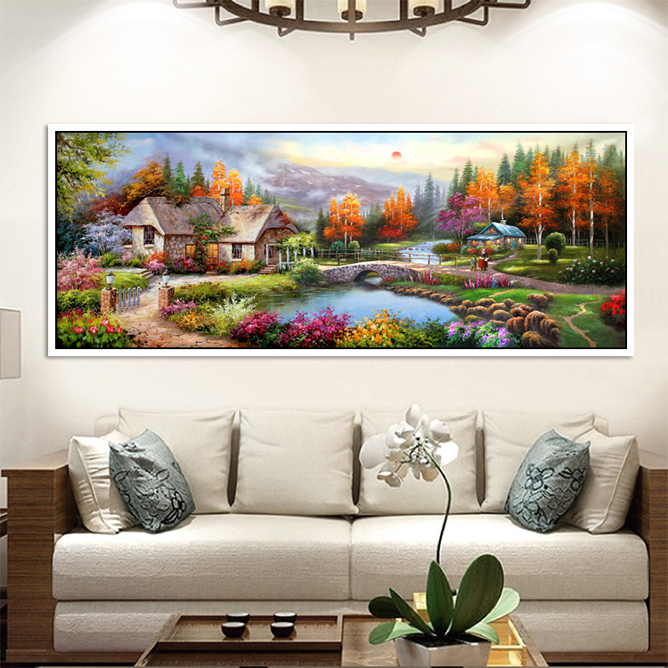 Diamond Painting Full of Crystals New Style Living Room Bedroom European Oil Painting Town Scenery Sticky Crystals Cross Stitch in Diamond Painting Cross Stitch from Home Garden
