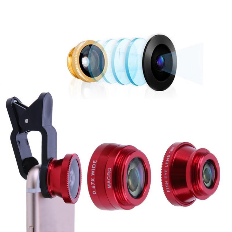 3 в 1 Универсальный Объективы для телефонов в виде рыбьего глаза + Широкий формат + макро Камера объектив с креплением комплект мобильного те...