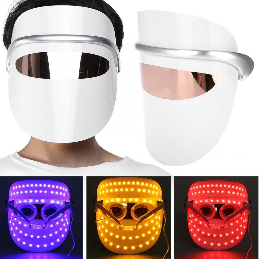 3 colores LED luz terapia cara máscara antiarrugas reafirmante piel cuidado rejuvenecimiento Led máscara terapia cara belleza herramienta-in Herramientas de cuidado de la piel para la cara from Belleza y salud    1