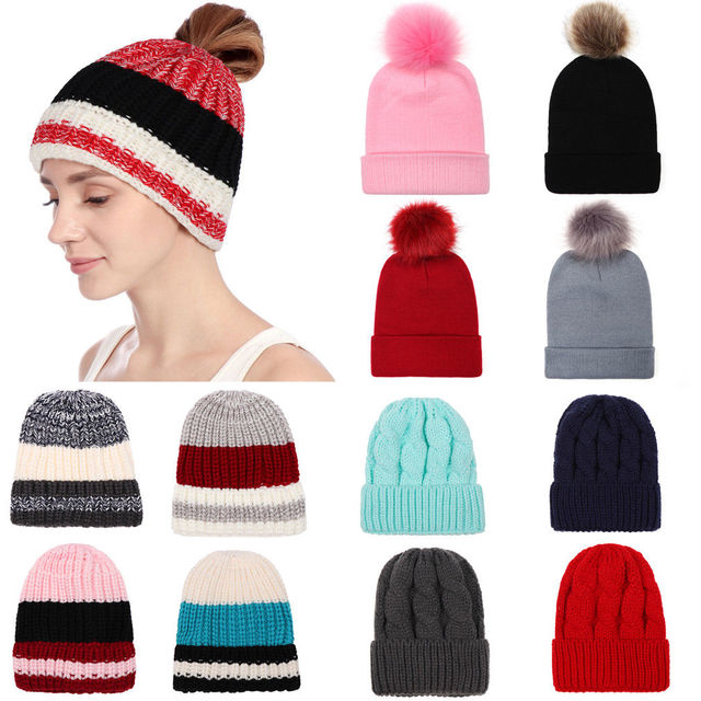 8f790b51ff190 Fashion Warm Autumn Winter Womens Knitted Beret Hats Caps Braided Baggy Crochet  Beanie Hat Ski Cool Girls Casual Warm Caps Hats