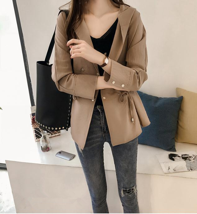 Fashion Women Hooded   Trench   Coat New Spring Solid Long Sleeve Cardigan Windbreaker Plus Size Lace-up Casual Coats