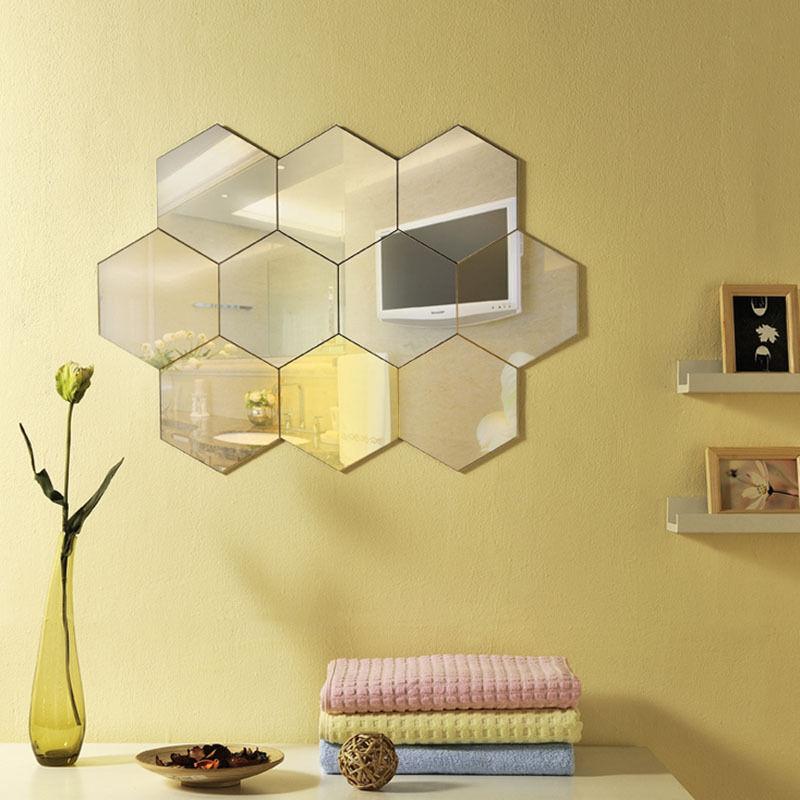 Vinyl Sticker Home 3D Decal DIY Hexagon Decor Wall Removable 12PCS Mirror Art