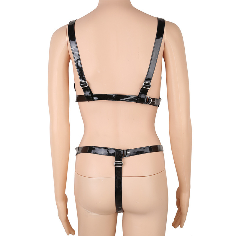 Women 39 s PU Leather Body Harness Open Bust Leather Straps With Metal Chains Bra And Thong Bikini Set Fetish Erotic Lingerie