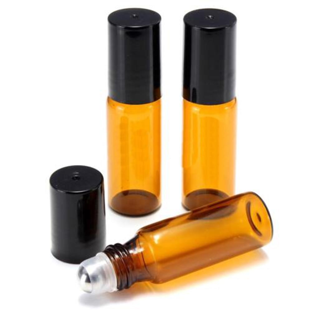 10Pcs 5ml/10ml Amber Roll On Glass Bottles Roller