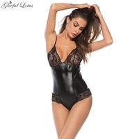 Sexy Latex Bodysuit Wetlook Women Sheer Bodysuit Sexy Babydoll Pole Dancing Clothing Transparent Lenceria Lingerie Sex Shop Lady