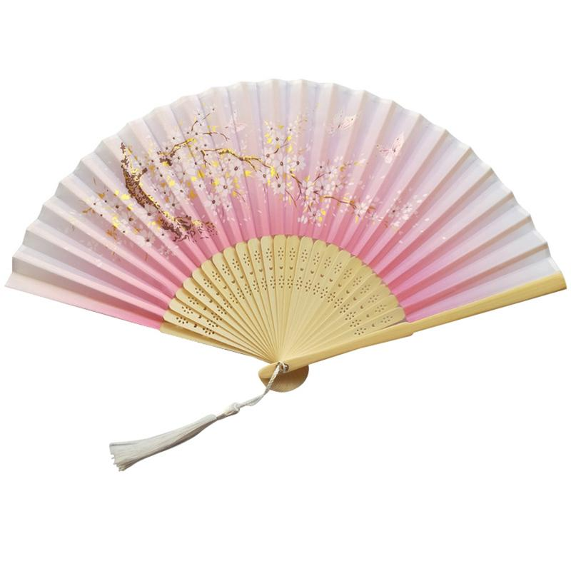 Hand Fan Green Bamboo Bones Hollow Carved Single-Sided High-Grade Silk Natural Bright Color Pink Flowers, Chinese Style