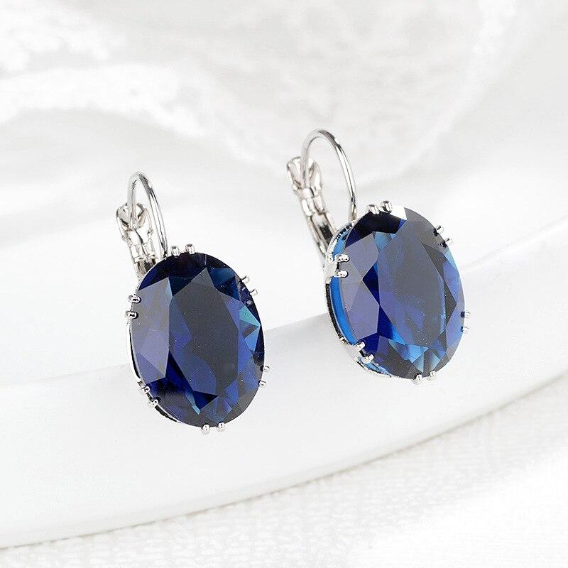 Clip-Earrings Jewelry Obsidian Peridot Gemstone Sapphire S925 Women Jade Orecchini Brincos