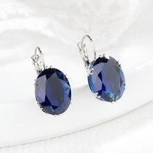 S925 Sliver Perola Sapphire Clip Earrings Women Jade Earring Brincos Jewelry peridot Bizuteria Orecchini Obsidian Gemstone