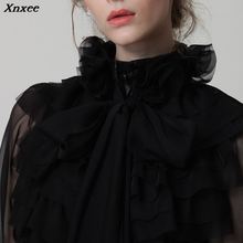 Xnxee 2019 Spring Solid Color Bow Knot Collar Layered Ruffles Lace Mesh Long Sleeve OL Blouse Women New