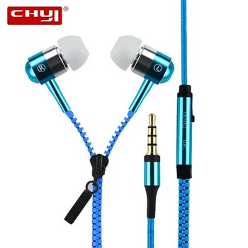 CHYI  fone de ouvido Zipper Headset Earphones with Microphone Headset Basses Creatively Gifts Metal Headset