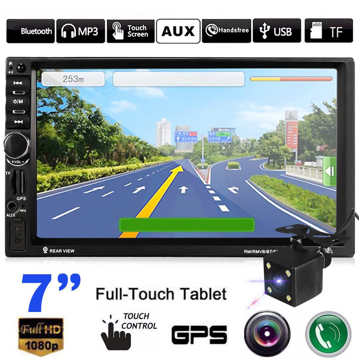 Bluetooth 7 inch HD Car 2 Din Car Stereo Audio Video GPS Navigation Navigator BP