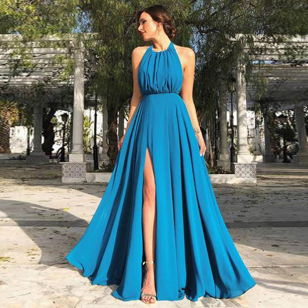 AL'OFA Women Sexy   Evening   Proms Formal   Dresses   Halter Sleeveless Pleated Split Hem Backless   Dress   Fashion Long   Evening     Dress