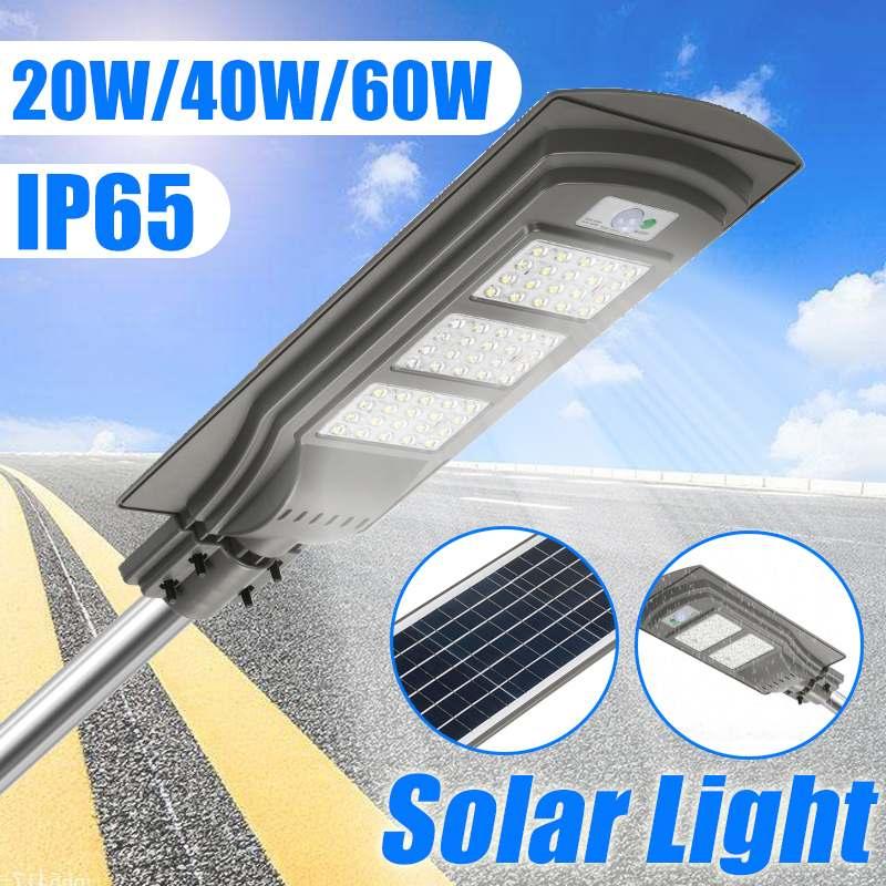 20 w/40 w/60 w ip65 durável à prova dwaterproof água led solar sensor de estrada projector sensor de movimento luz de parede ao ar livre jardim rua caminho lâmpada
