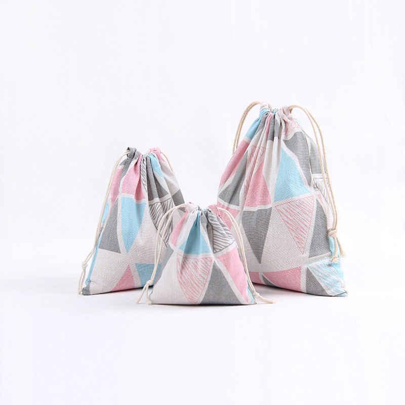 1pcs Wood Grain Drawstring Cotton Linen Storage Bag Gift Candy Tea Jewelry Organizer Makeup Cosmetic Coins keys Bags 49284
