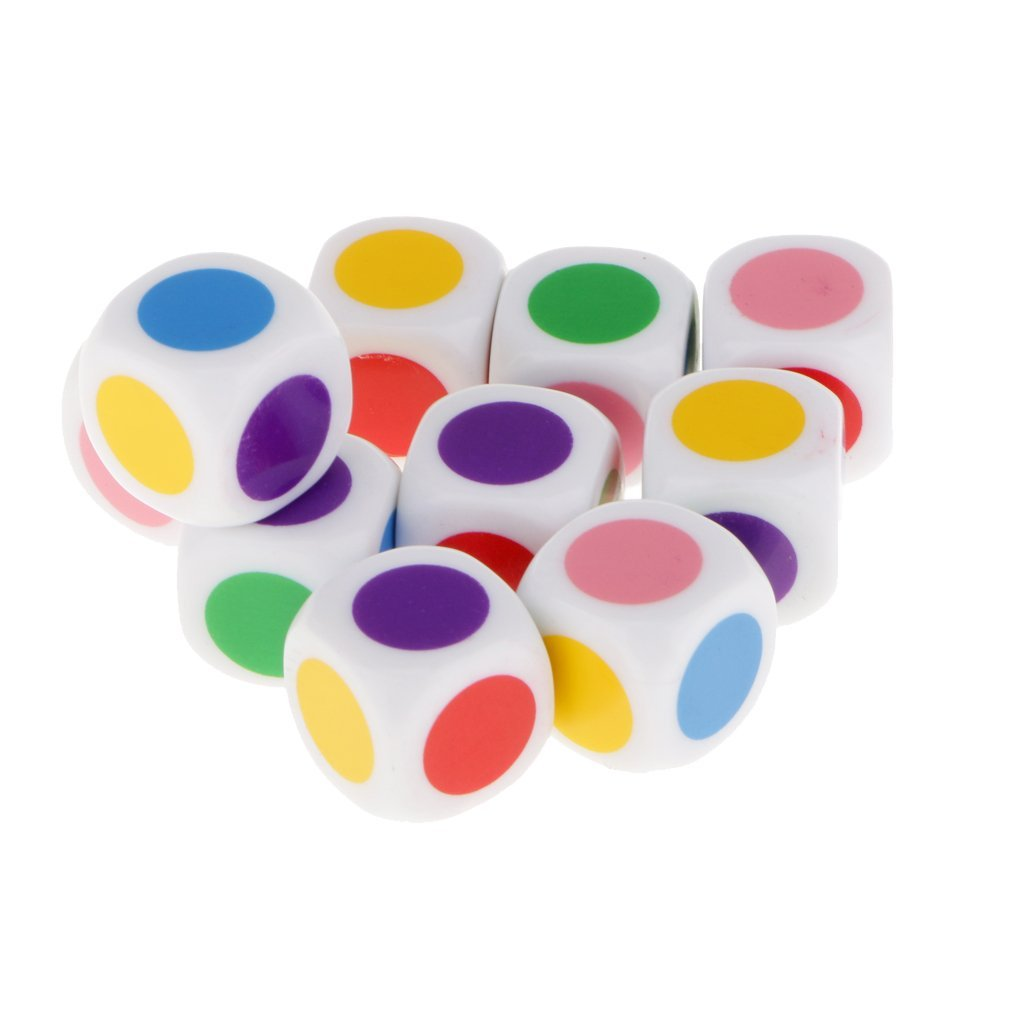 Set of 10 Pcs Dice to play with 6 colors for board games Kids table games Educational toys
