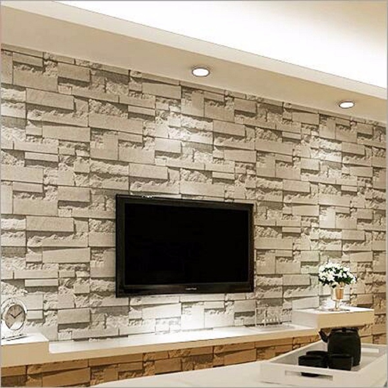 Luxury 10mx0.53m PVC Modern Stone Brick 3D Wallpaper DIY Living Room Bedroom Mural Roll Wall Background Home Decor