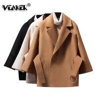 Autumn Camel Short Woolen Coat Women Belt Jacket Autumn Solid Woolen Coat Waist Tie Elegant Woman Autumn Wool Jacket Outerwear