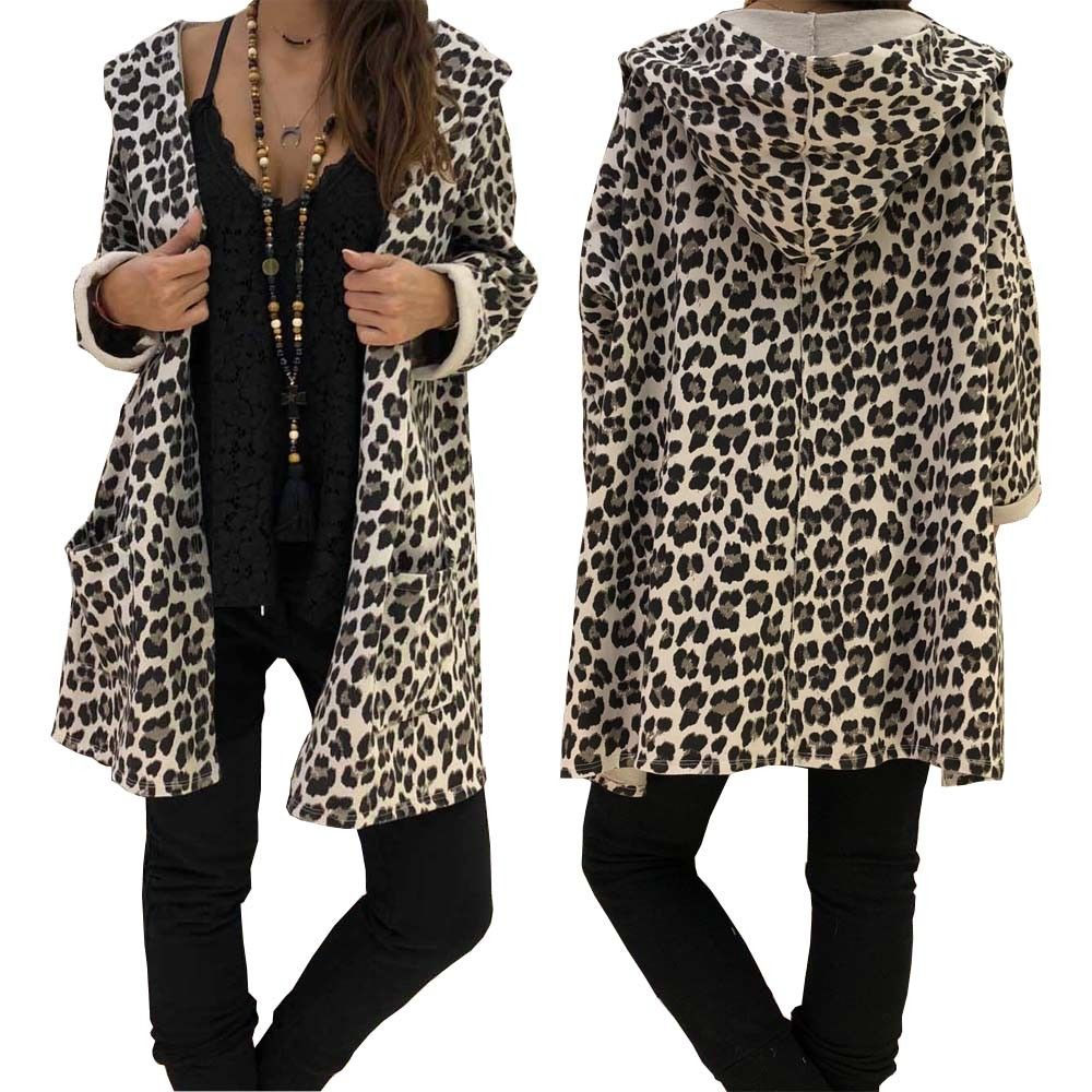Fashion Women Ladies Autumn Thin Leopard Hooded Pocket Long Coat Cardigan Loose Outwear Kimono Female Long Sleeve Coat