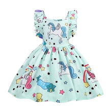 AmzBarley Girls Unicorn Dress Strappy Backless Toddler Sundress Birthday Up Party Fancy Dresses