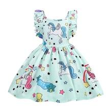 AmzBarley Girls Unicorn Dress Strappy Backless Toddler Sundress Birthday Dress Up Party Fancy Dresses цена и фото