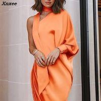 2018 Summer New Fashion Women Elegant Prom Long Party Dress Female Choker One Shoulder Scrunch Slit Side Asymmetrical Maxi Dress