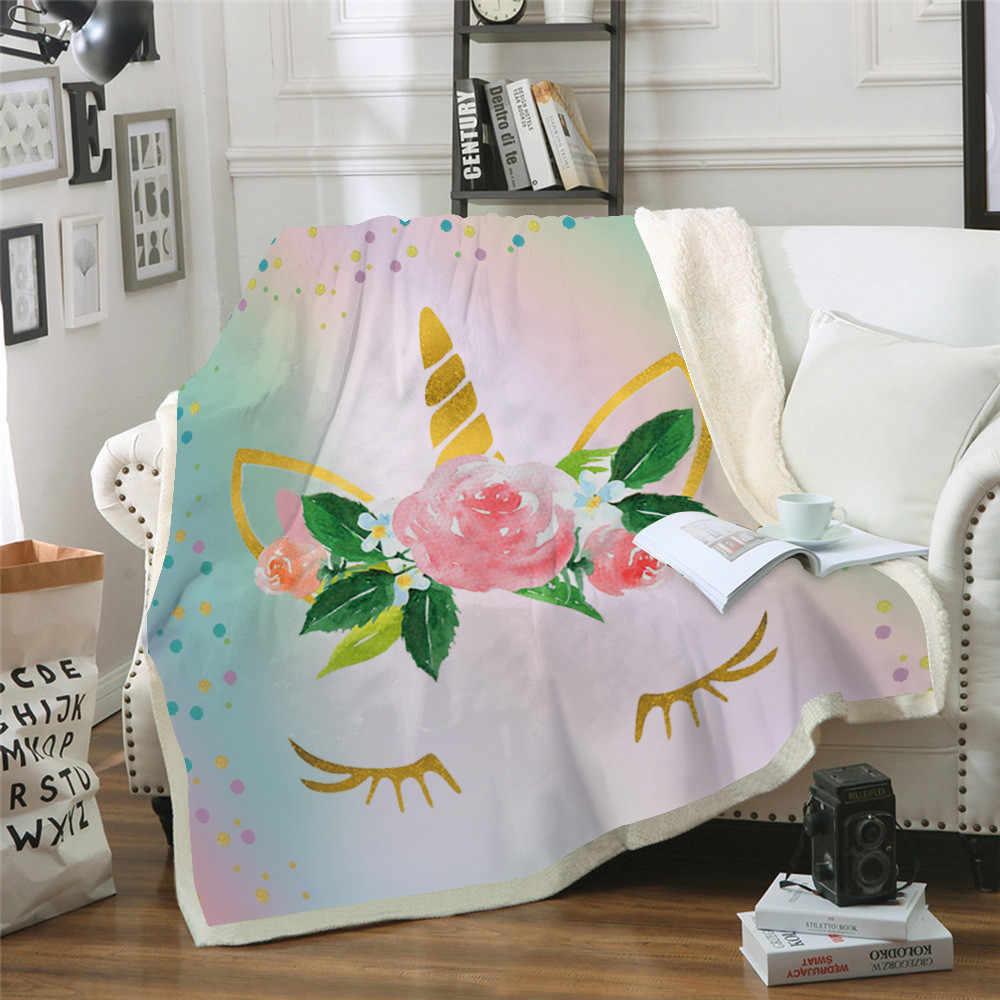 Cor de Rosa de ouro Do Unicórnio Do Arco de Impressão a Cores Gradiente Throw Blanket Sofá Cama Cadeira Resto Cama Home Decor Abastecimento Para Filhos Adultos