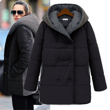 Женская зимняя куртка, европейский стиль, парка, женские куртки, пуховое хлопковое длинное пальто, облегающее пальто с капюшоном размера плюс, верхняя одежда