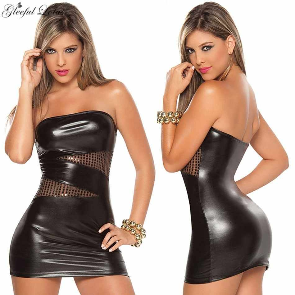 Sexy Vestido De Couro Falso Hot Erotic Lingerie Sexy Babydoll Lady Clubwear Skinny Wetlook Mini Vestido Pura Fantasia Exotic Dancewear