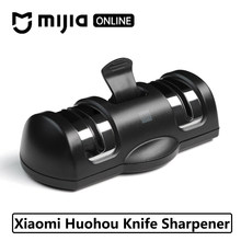 2019 New Xiaomi Mijia Huohou Whetstone Knife Whetstone Sharpener Tool for Kitchen 2 Stages Double Wheel Sharpener Grinder knives(China)