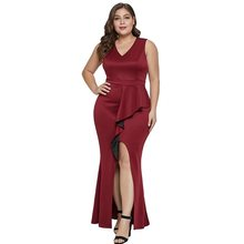 Summer Party Sexy Bodycon Dress Plus Size 5XL Women Robe Red Split Ruffle Black Evening Sleeveless High Waist Club Long Dresses недорого