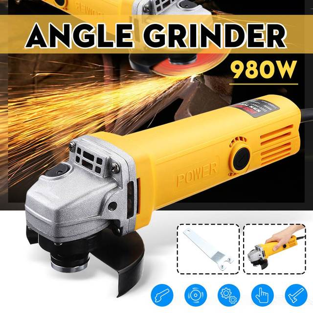 220V/50Hz 980W 11000r/min Angle Grinder Electric Angle Grinding Cutting Power Tools 100mm Diameter