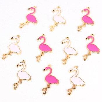 10 шт., модные эмалированные подвески в виде фламинго из сплава, милые Подвески ручной работы, ювелирных изделий для ожерелий, браслетов, серег