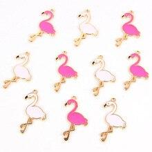 10pcs Trendy Alloy Flamingo Enamel Charms Lovely Handmade Pendant Jewelry Findings For Necklace Bracelet Earrings