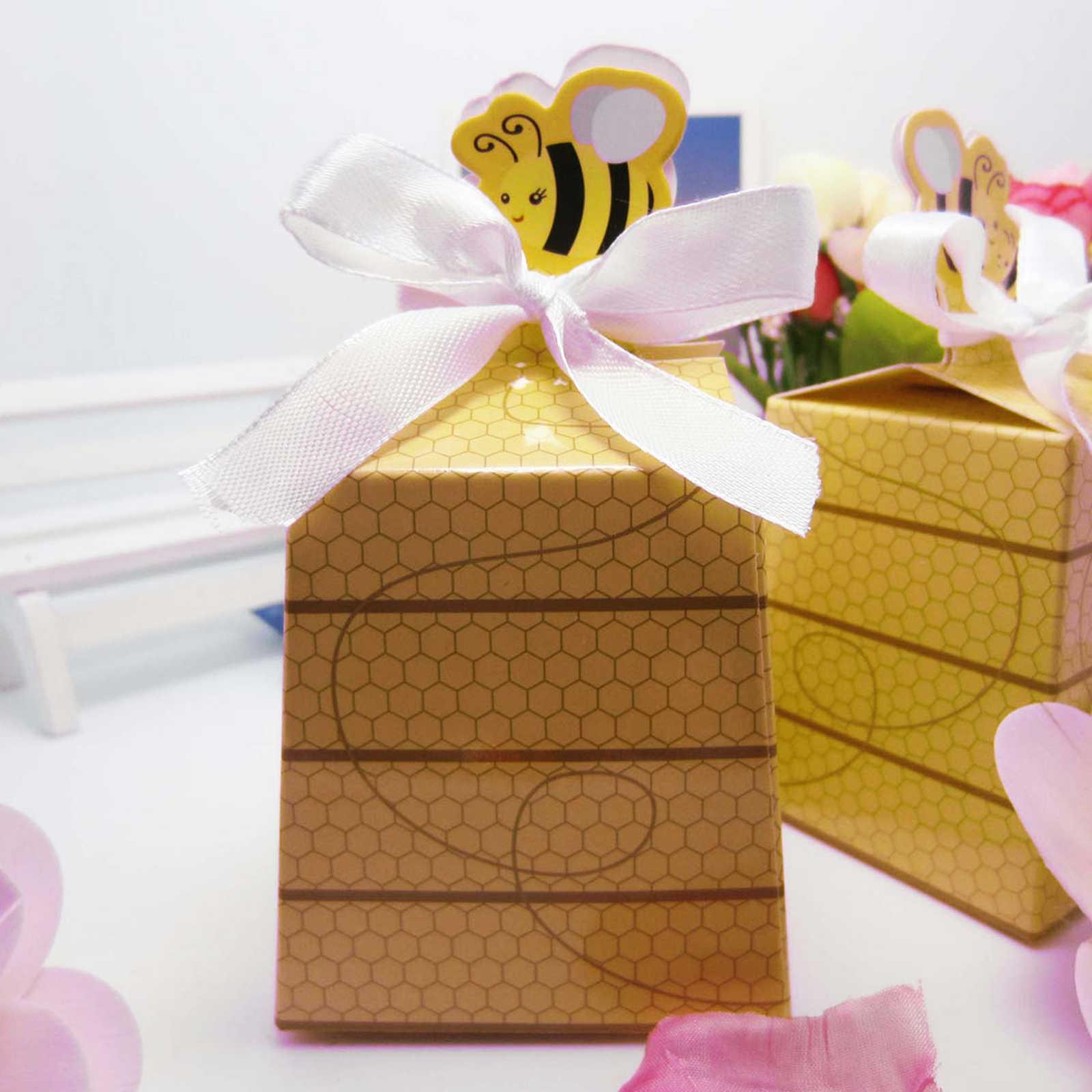 10 pcs Abelha Bonito Caixa De Doces Bebê Chuveiro Favor Caixa de Doces de Papel Dos Desenhos Animados Adoráveis Crianças Decoração Da Festa de Aniversário Do Bebê Recém-nascido presentes Decoração