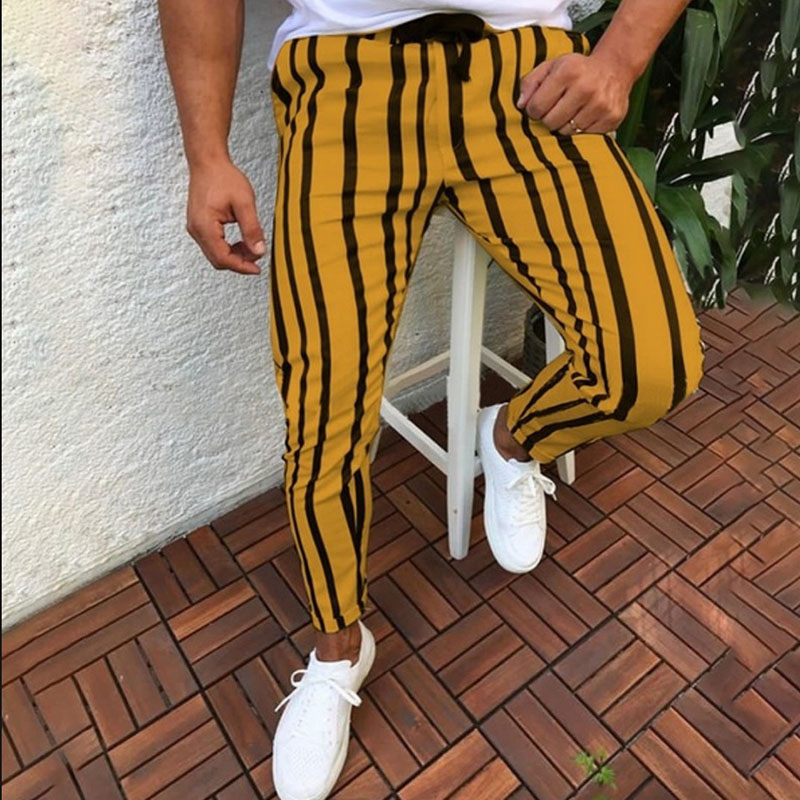 High Quality Men's Casual Striped Long Pants Harem Pants Fitness Workout Joggers Gym Sweatpants Drawstring Slim Fit Trousers 3XL