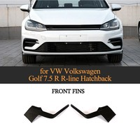 Carbon Fiber Front Bumper Fins For VW Volkswagen Golf 7.5 R R Line Hatchback 4 Door 2pcs