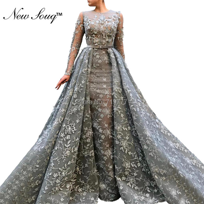 Muslim Applique Flower   Evening     Dresses   2019 Saudi Arabic Long Robe Soiree Formal Party   Dress   Mermaid Dubai Prom   Dress   Two Pieces