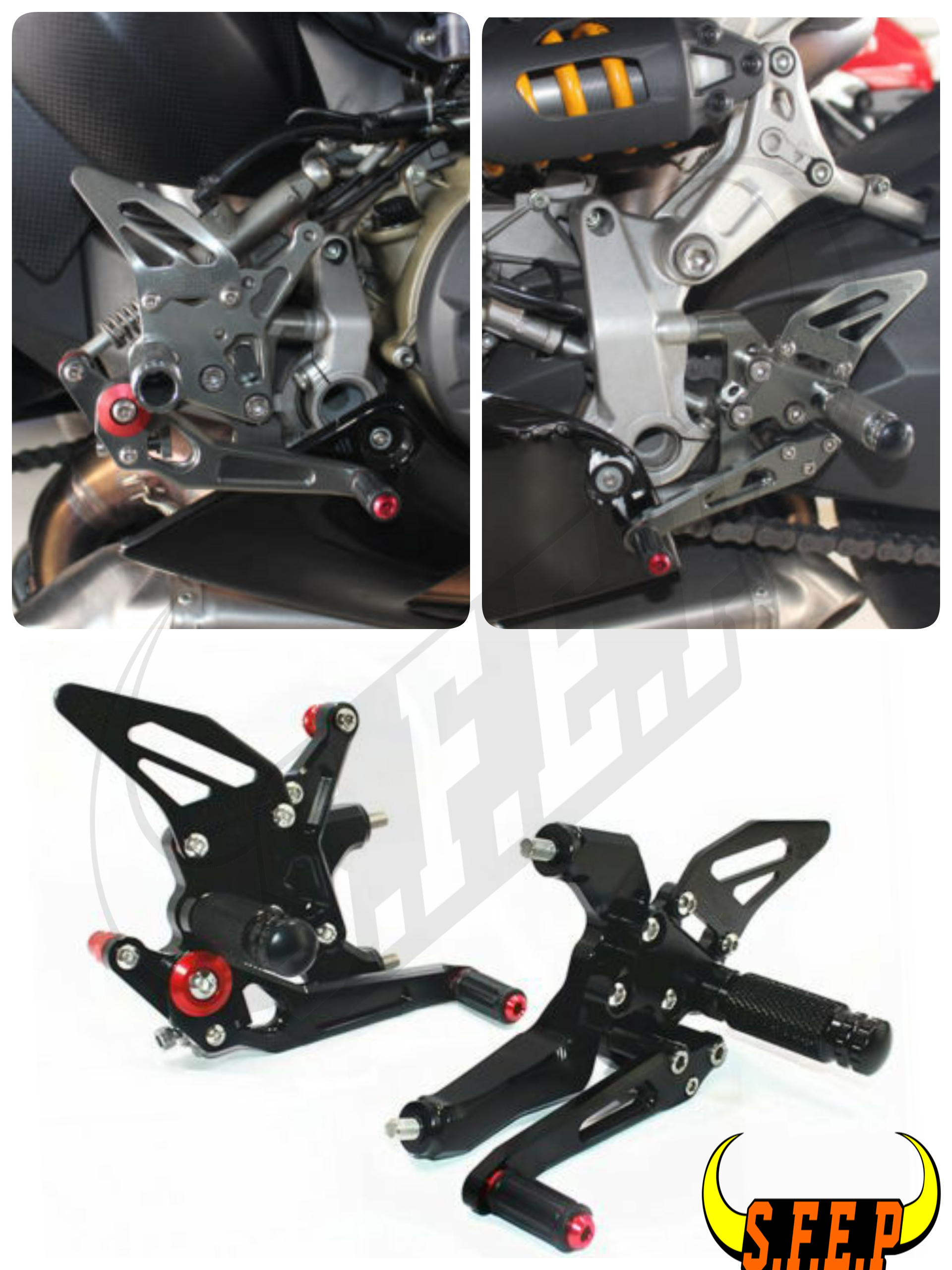 CNC Adjustable Rearset Foot Pegs Rest Pedal For Ducati 899 Panigale 2014-2015 / 1199 Panigale 2012-2013-2014-2015