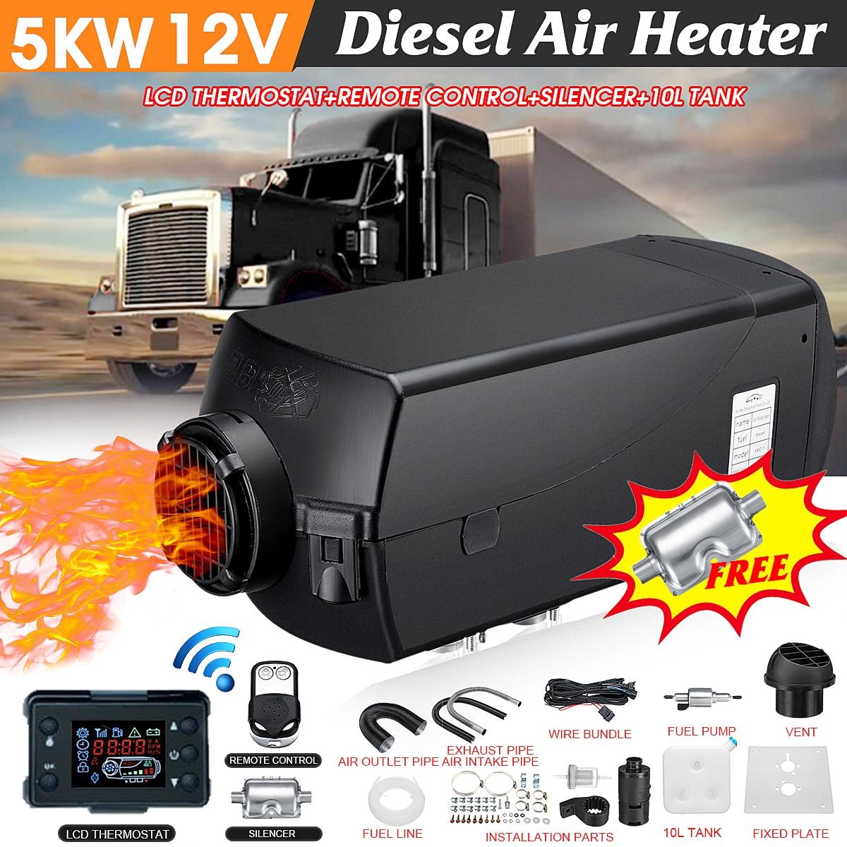 Radiateur de voiture 12 V 5000 W écran lcd Air diesels Réchauffeur De Carburant Unique Trou Avec Télécommande Et Silencieux 10L Réservoir 5KW Pour camions Bateaux Etc