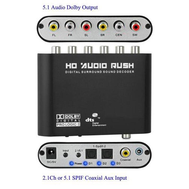 Coaxial Digital Audio DTS/AC-3 zu 5,1 Analog Decoder Converter DTS AC3 5,1 CH SPDIF RCA Ausgang Adapter Surround sound Decorder