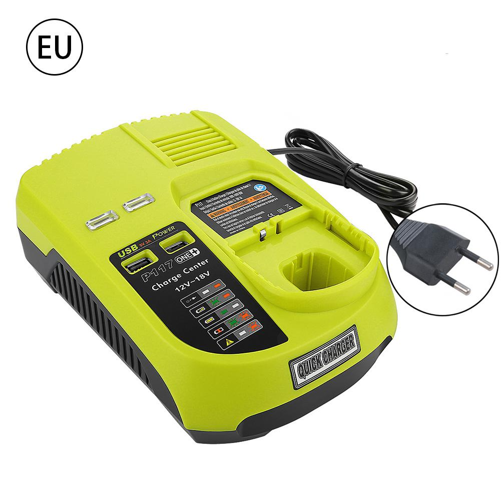 Lithium Nickel Universal 2 In 1 Battery Charger With USB Interface Smart LED Indicator For RYOBI P117 12V 18V