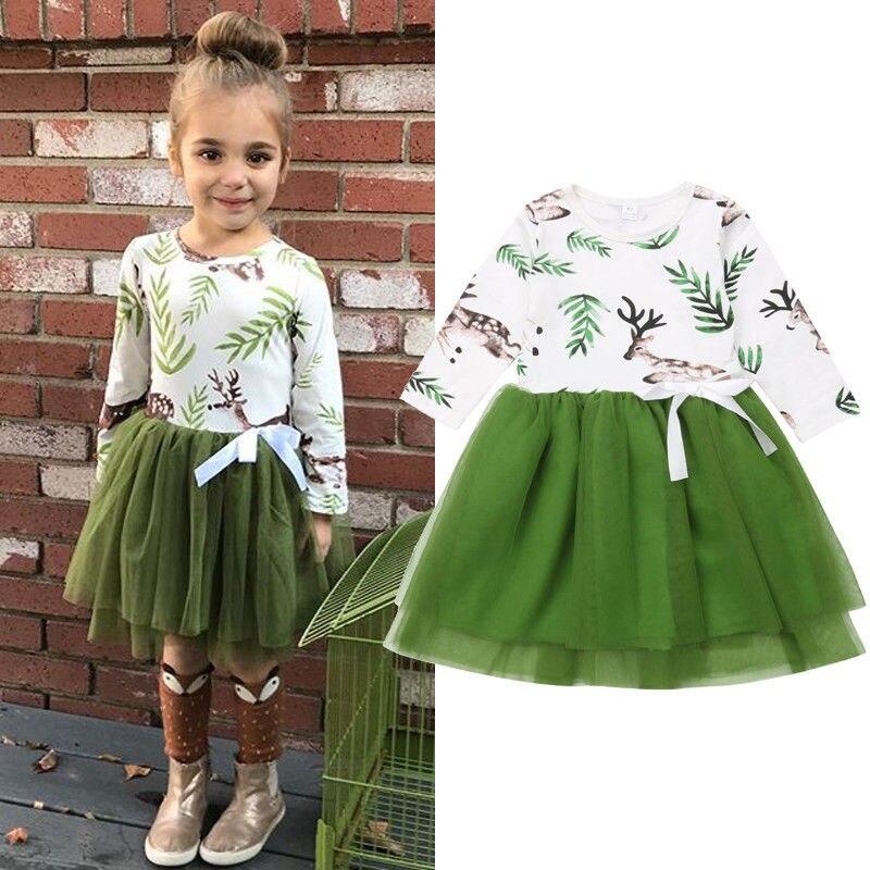 Christmas Toddler Kids Girl Elk Dress Fashion Long Sleeve Animal Print Bow Tulle Tutu Dress Girls Casual Party Cotton Dresses day dress