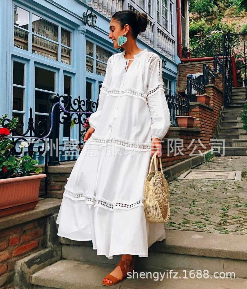 2576efcec5159 Elegant Lace Loose Bohemian Maxi Dresses for Women Hollow Out Long Sleeve  White Summer Beach Dresses V Neck Casual Vestidos