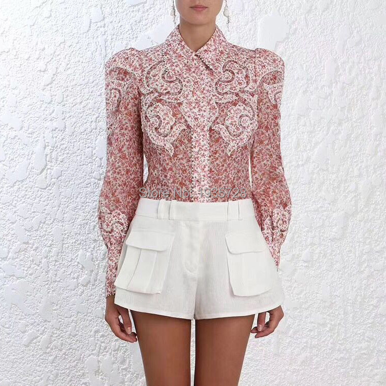 0bbf6d7e Luxury Silk & Linen Manual Applique Lapel Embroidery & Print Shirt Top  Features Balls Trim -