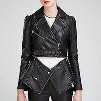 [MENKAY] Lower Edge Detachable Slim Motorcycle PU Faux Leather Jacket Womens Black Coats Fashion Clothes
